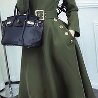 海外 インポート セレクト カーキ フレアー ベルト付 上品 ワンピース ドレス フォーマル