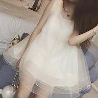 海外インポートセレクトホワイトオーガンジーチュールミニワンピースドレス白色