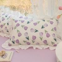 パープルチューリップの枕カバー