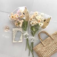 くまさんラッピングの造花のブーケ