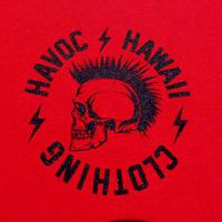 HAVOC HAWAII CLOTHING        Rock T-shirts レッド/ブラック