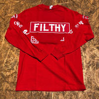 FILTHY HAWAII LONG TSHIRTS レッド/ホワイト
