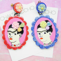 Frida Khalo(Glitter)Single Earring s/Ear clips