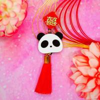 パンダの顔レッド(片耳)ピアス/イヤリングRed Panda Face Single Earring/Ear clip