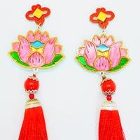 蓮RED 両耳 Earrings/Ear clips