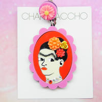 Frida Khalo(PNK×RD)Single Earring s/Ear clips