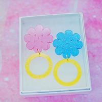 お花のリング【YEL/AQU】Earrings/Ear clips【7】