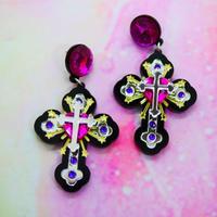 Black Cross Earrings/Ear clips