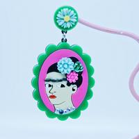Frida Khalo Single Earring s/Ear clips