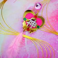 Pink Magical Heart 神 Single Earrings /Ear clips