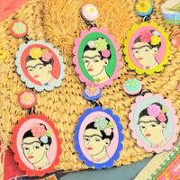 【片耳】カラフルなフリーダカーロ Colorful Frida Khalo Single Earrings