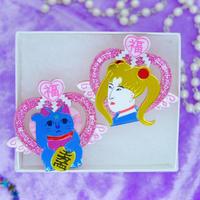 New 浮世絵美少女と魔法猫 Earrings/Ear clips
