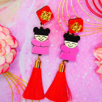 CHINESE GIRL RED Earrings/Ear clip