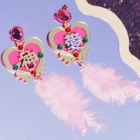 神(片耳)ピアス/イヤリングPink Magical Heart  Single Earrings /Ear clips