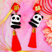 Panda Red Earrings/Ear clip