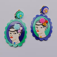 【両耳セット】GREEN×BLUE  Frida Khalo