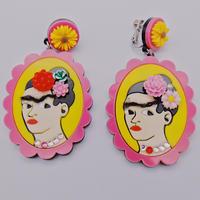 【両耳セット】PINK×PINK  Frida Khalo