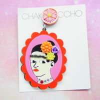 Frida Khalo(RD×PNK)Single Earring s/Ear clips