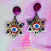 Black Hexagrams Earrings /Ear clips
