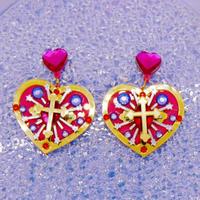 Cross heart Earrings/Ear clips