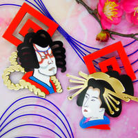 Kabuki×Oiran Gold Earrings/Ear clips