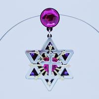 六芒星ブラック Black Hexagrams  Single  Earrings /Ear clips