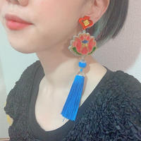 蓮LIGHT BLUE Single Earring/Clip/Brooch 【片耳・ブローチ】