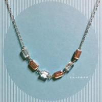 高品質天然石水晶レクタングルのネックレス