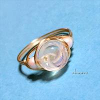 🌹薔薇彫刻の天然石ワイヤーリング アクアクリスタル