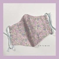 ノーズワイヤー&ポケット付き♡立体マスク flower lavender