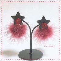 チェコガラスフラワー&ミンクのピアス red