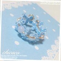 天然石のフラワーリング ブルーレース&水晶