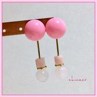 ピンクの天然石カボションピアス/イヤリング