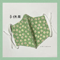 子供用♥ノーズワイヤー&ポケット付き♡立体マスク flower green