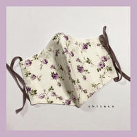 ノーズワイヤー&ポケット付き♡立体マスク flower purple