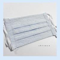 ノーズワイヤー入り♡コットンプリーツマスク flower bluelace