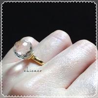 天然石水晶ミラーカットの煌きリング gold or silver