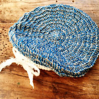 バンブーリネンのベレー帽 *水色*