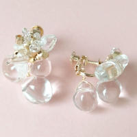 3粒の水晶とハーキマーダイヤのイヤリング