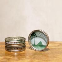 【レトロな雑貨】コースター(アルミxガラス)3つ一組
