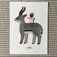 丸山真琴作品  pinkの服の小さなおじさんとガゼル