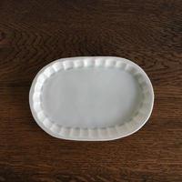 五十嵐元次 白磁 楕円皿 小