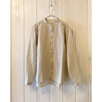 綿/麻 ストライプ シャツ