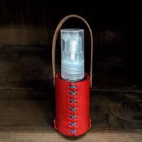 ボトル(30ml)ポンプと革のケース(丸型カラビナ付き)