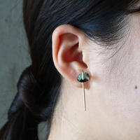 Line / Pierced Earrings   Emerald in Black (single) ピアス