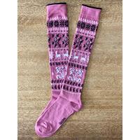 Kikucönia*Muhu民族靴下柄ニーソックス【Pink】