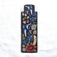 ムフ刺繍柄ブックマーク*青い鳥
