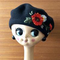 ムフ刺繍ベレー帽*ポピー&マーガレット