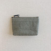 手織り布メイクポーチ ( Make up bag Black herringbone)