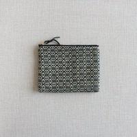 【再入荷 在庫限り】手織り布のミニポーチ ( Black Flower)